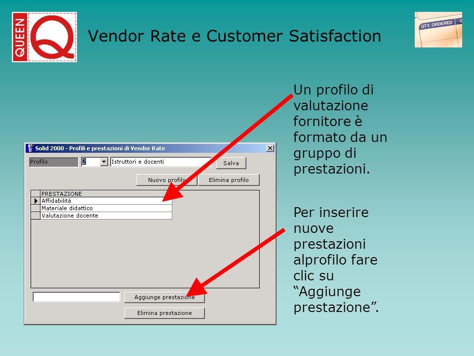Un profilo di valutazione fornitore è formato da un gruppo di prestazioni. Per inserire nuove prestazioni alprofilo fare clic su Aggiunge prestazione.