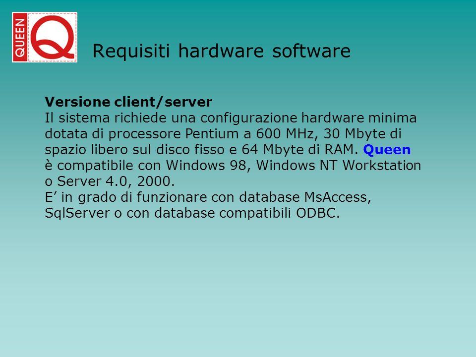 Requisiti hardware software Versione client/server Il sistema richiede una configurazione hardware minima dotata di processore Pentium a 600 MHz, 30 M