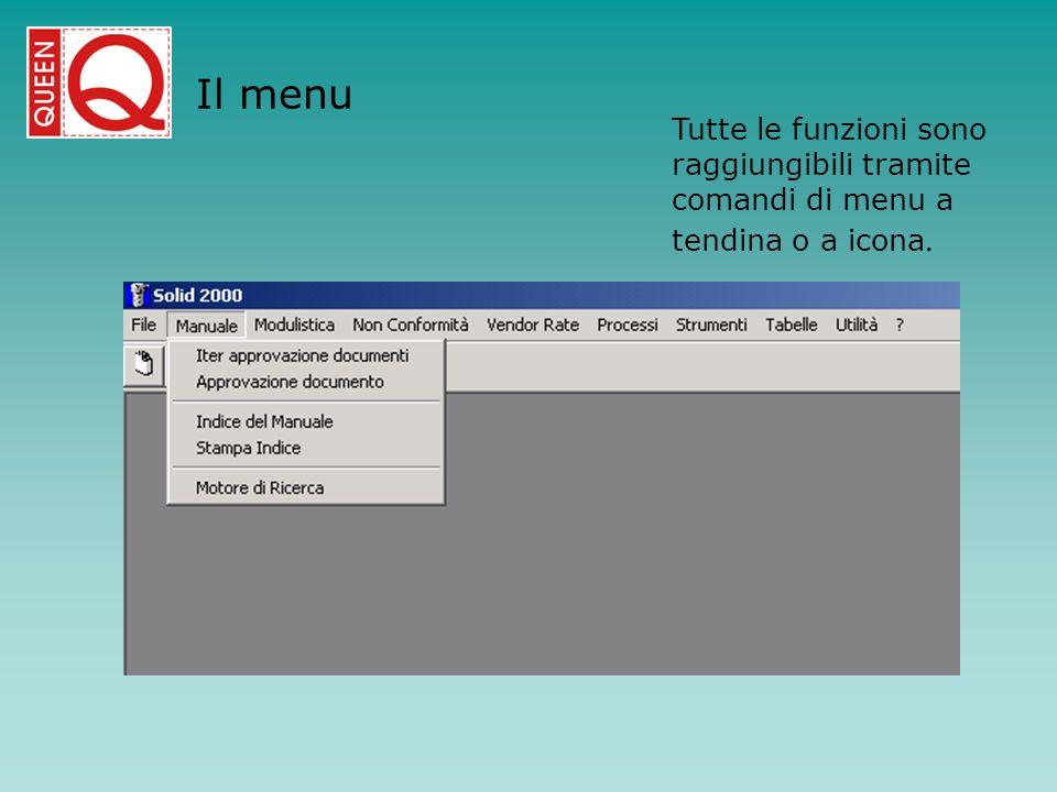 Il menu Tutte le funzioni sono raggiungibili tramite comandi di menu a tendina o a icona.