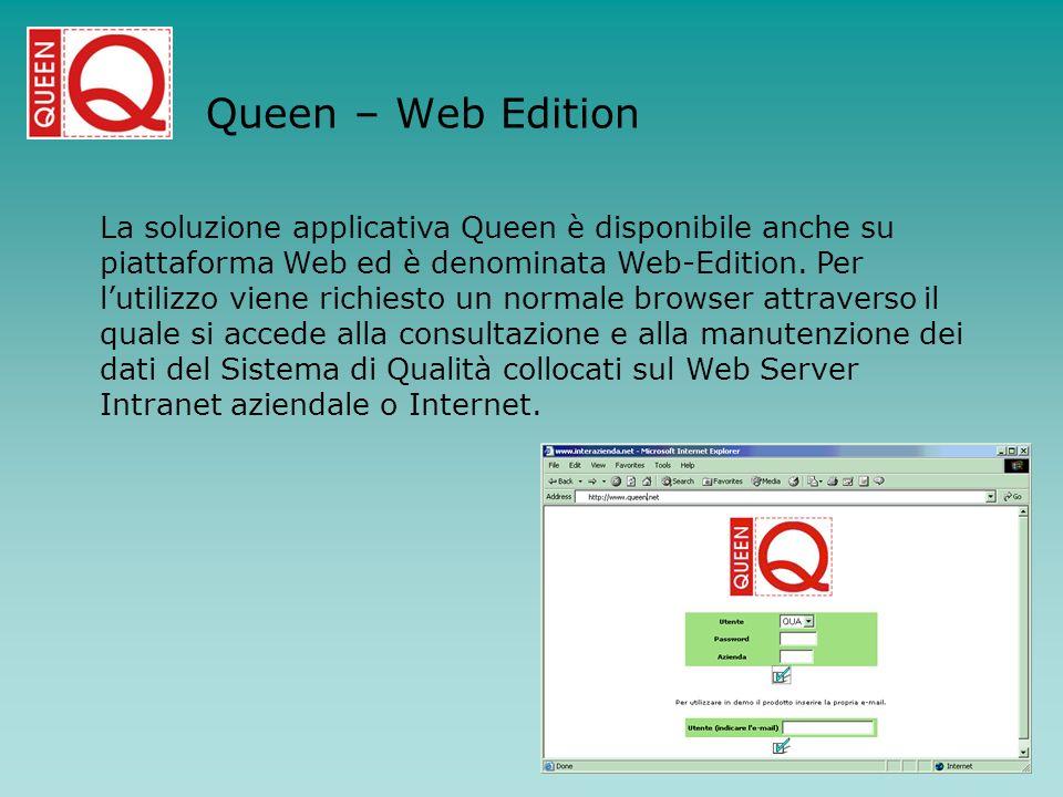 Queen – Web Edition La soluzione applicativa Queen è disponibile anche su piattaforma Web ed è denominata Web-Edition. Per lutilizzo viene richiesto u