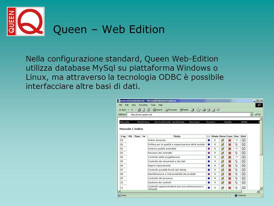 Queen – Web Edition Nella configurazione standard, Queen Web-Edition utilizza database MySql su piattaforma Windows o Linux, ma attraverso la tecnolog
