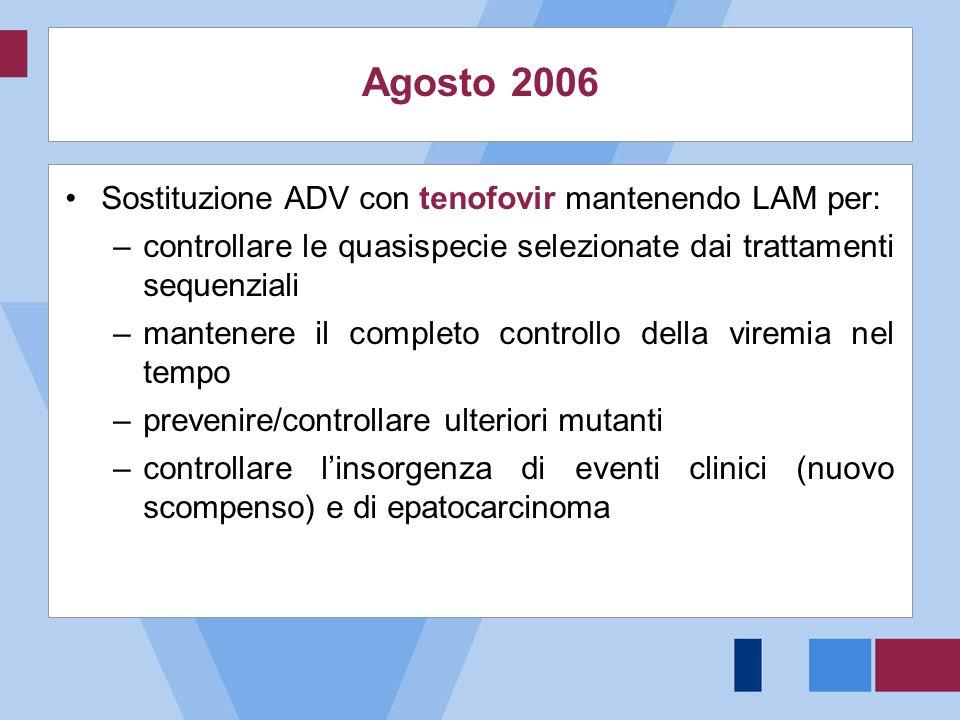 Agosto 2006 Sostituzione ADV con tenofovir mantenendo LAM per: –controllare le quasispecie selezionate dai trattamenti sequenziali –mantenere il compl