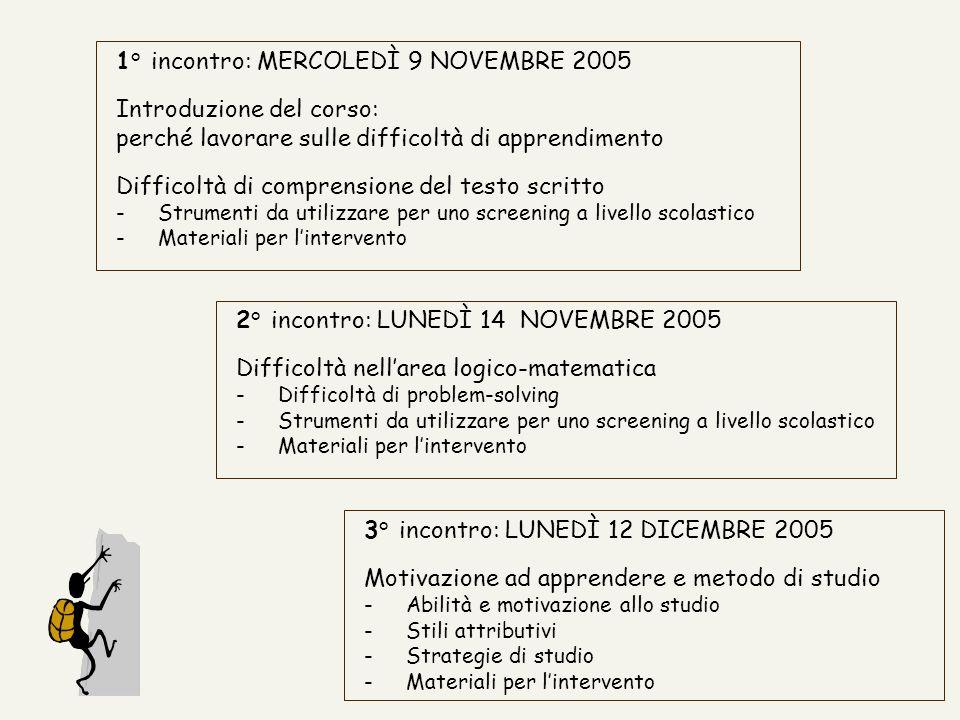 1° incontro: MERCOLEDÌ 9 NOVEMBRE 2005 Introduzione del corso: perché lavorare sulle difficoltà di apprendimento Difficoltà di comprensione del testo
