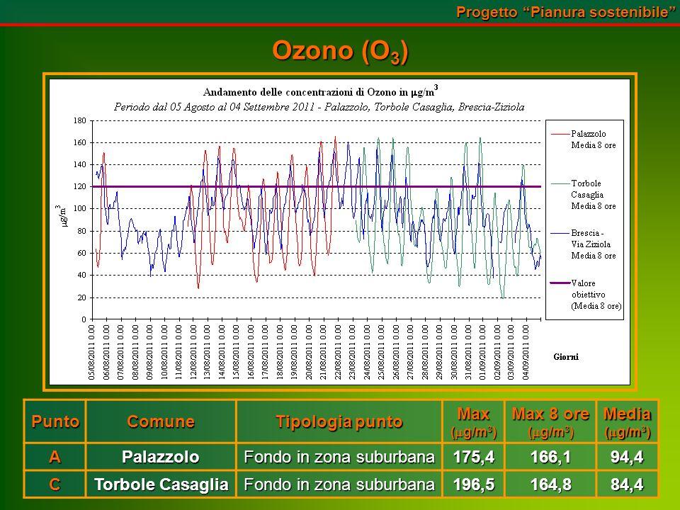 Ozono (O 3 ) PuntoComune Tipologia punto Max ( g/m 3 ) Max 8 ore ( g/m 3 ) Media APalazzolo Fondo in zona suburbana 175,4166,194,4 C Torbole Casaglia Fondo in zona suburbana 196,5164,884,4 Progetto Pianura sostenibile