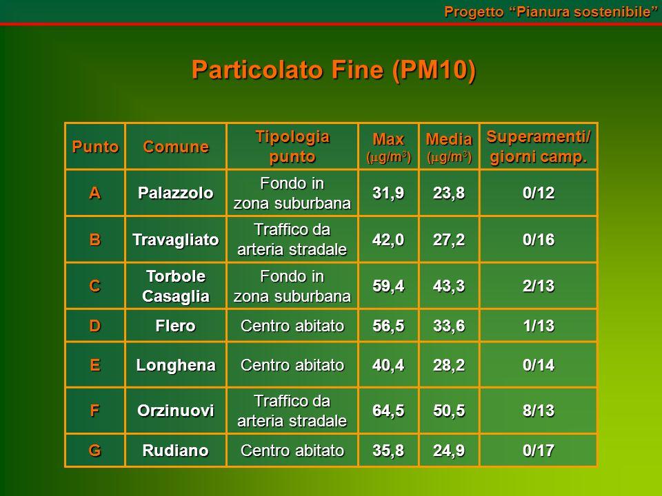 Particolato Fine (PM10) PuntoComuneTipologiapuntoMax ( g/m 3 ) Media Superamenti/ giorni camp.