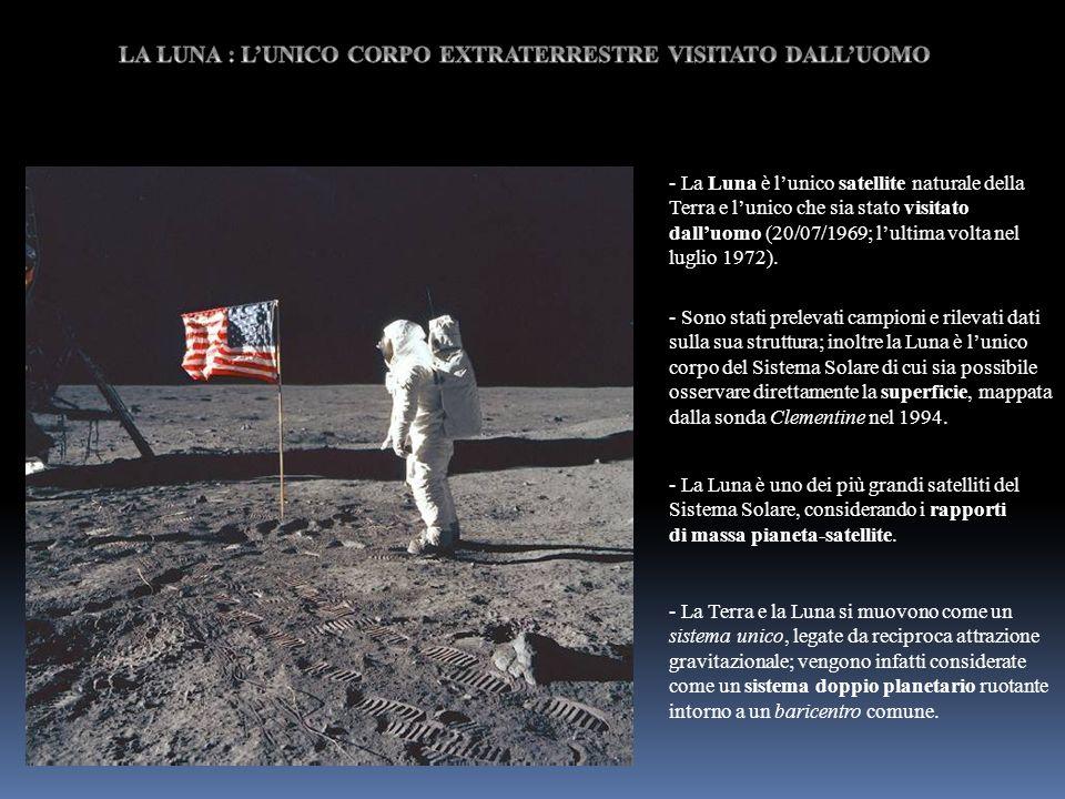 - La Luna è lunico satellite naturale della Terra e lunico che sia stato visitato dalluomo (20/07/1969; lultima volta nel luglio 1972). - Sono stati p