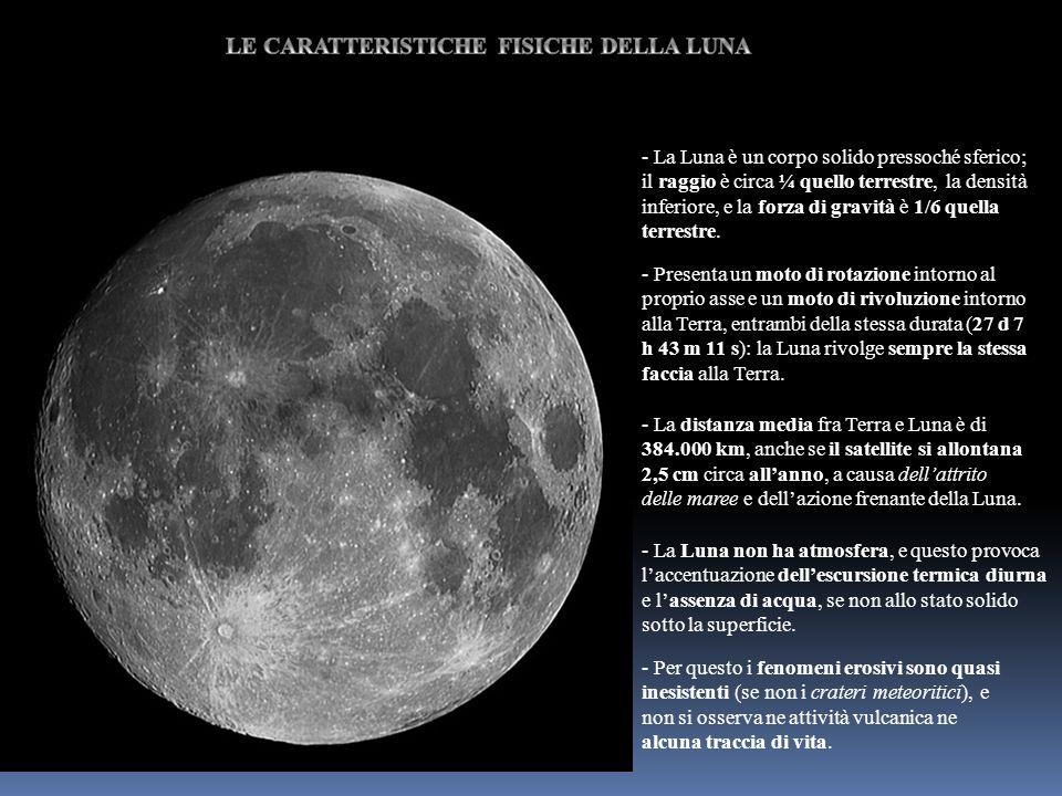 - La Luna è un corpo solido pressoché sferico; il raggio è circa ¼ quello terrestre, la densità inferiore, e la forza di gravità è 1/6 quella terrestr