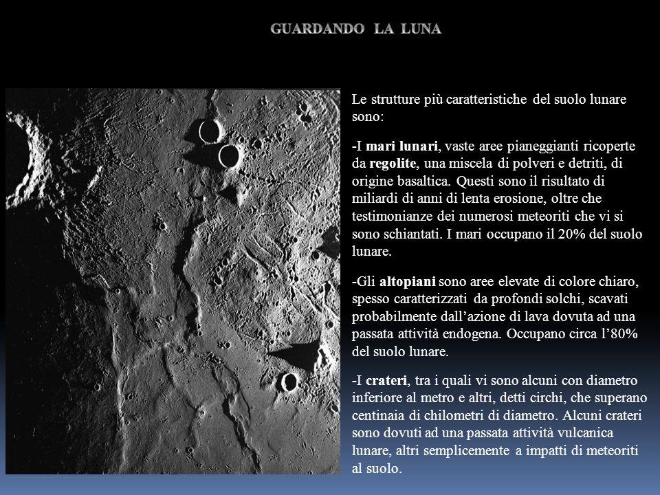 Le strutture più caratteristiche del suolo lunare sono: -I mari lunari, vaste aree pianeggianti ricoperte da regolite, una miscela di polveri e detrit