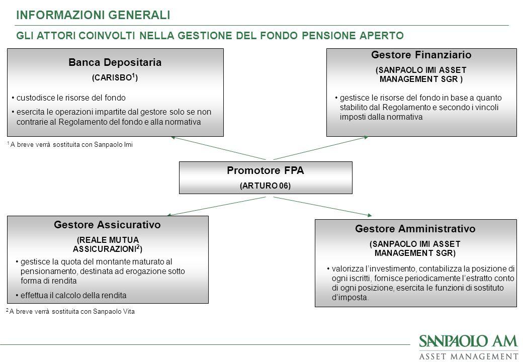 Gestore Amministrativo (SANPAOLO IMI ASSET MANAGEMENT SGR) valorizza linvestimento, contabilizza la posizione di ogni iscritti, fornisce periodicament