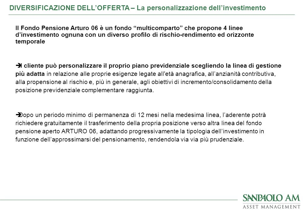 Il Fondo Pensione Arturo 06 è un fondo multicomparto che propone 4 linee dinvestimento ognuna con un diverso profilo di rischio-rendimento ed orizzont