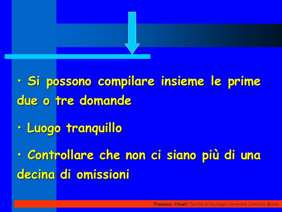 Francesco Vincelli, Facoltà di Psicologia, Università Cattolica, Milano Si possono compilare insieme le prime due o tre domande Si possono compilare i