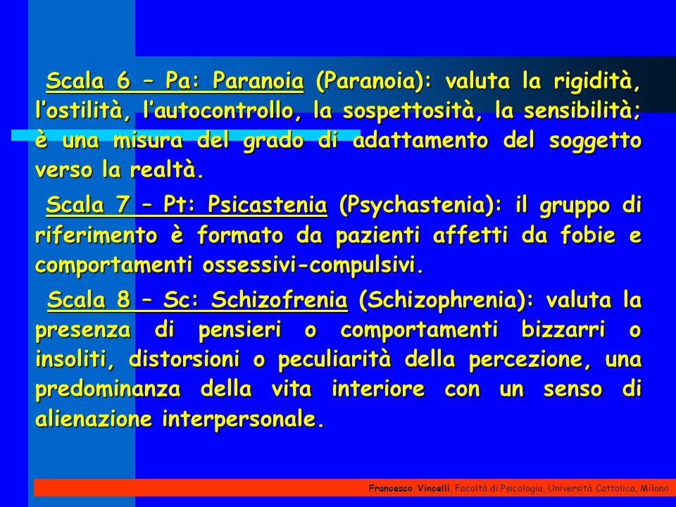 Francesco Vincelli, Facoltà di Psicologia, Università Cattolica, Milano Scala 6 – Pa: Paranoia (Paranoia): valuta la rigidità, lostilità, lautocontrol