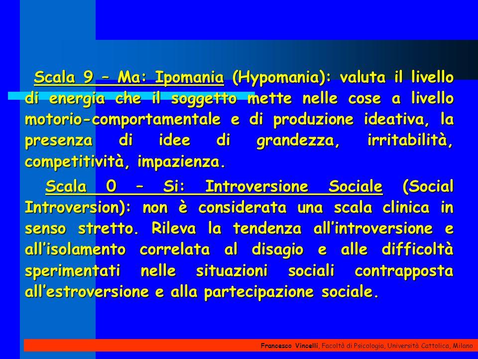 Francesco Vincelli, Facoltà di Psicologia, Università Cattolica, Milano Scala 9 – Ma: Ipomania (Hypomania): valuta il livello di energia che il sogget