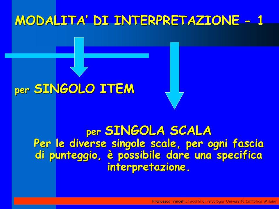 Francesco Vincelli, Facoltà di Psicologia, Università Cattolica, Milano MODALITA DI INTERPRETAZIONE - 1 per SINGOLO ITEM per SINGOLA SCALA Per le dive