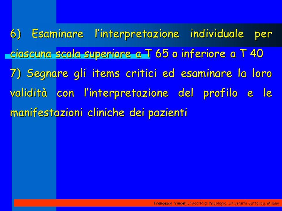 Francesco Vincelli, Facoltà di Psicologia, Università Cattolica, Milano 6) Esaminare linterpretazione individuale per ciascuna scala superiore a T 65