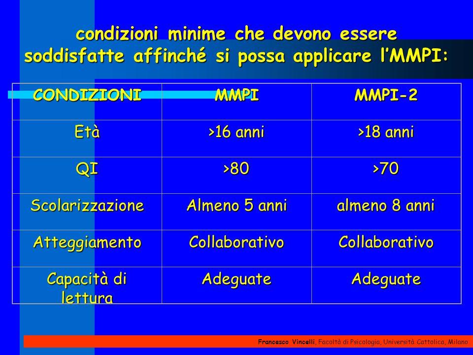 Francesco Vincelli, Facoltà di Psicologia, Università Cattolica, Milano condizioni minime che devono essere soddisfatte affinché si possa applicare lM