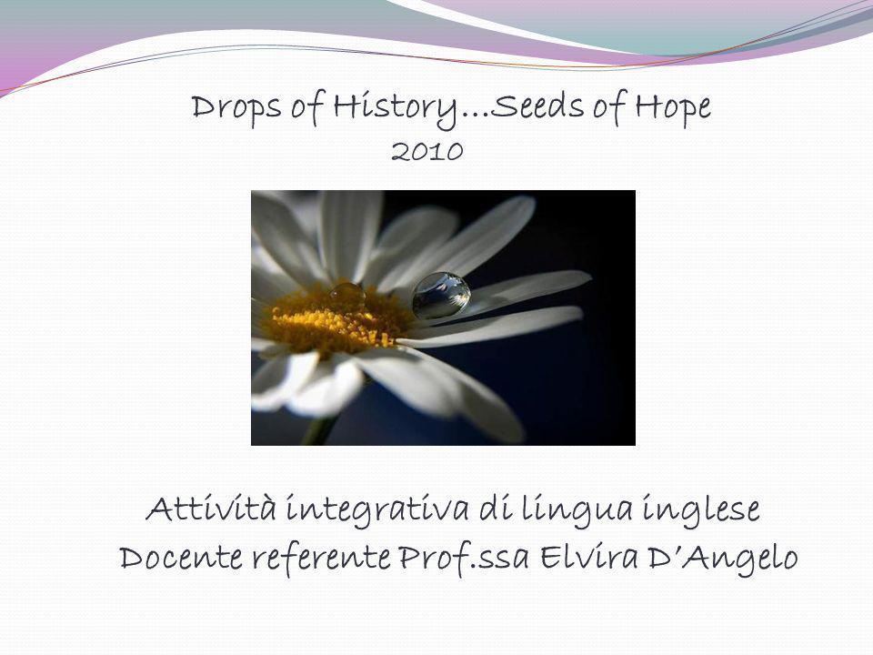 Attività integrativa di lingua inglese Docente referente Prof.ssa Elvira DAngelo Drops of History…Seeds of Hope 2010