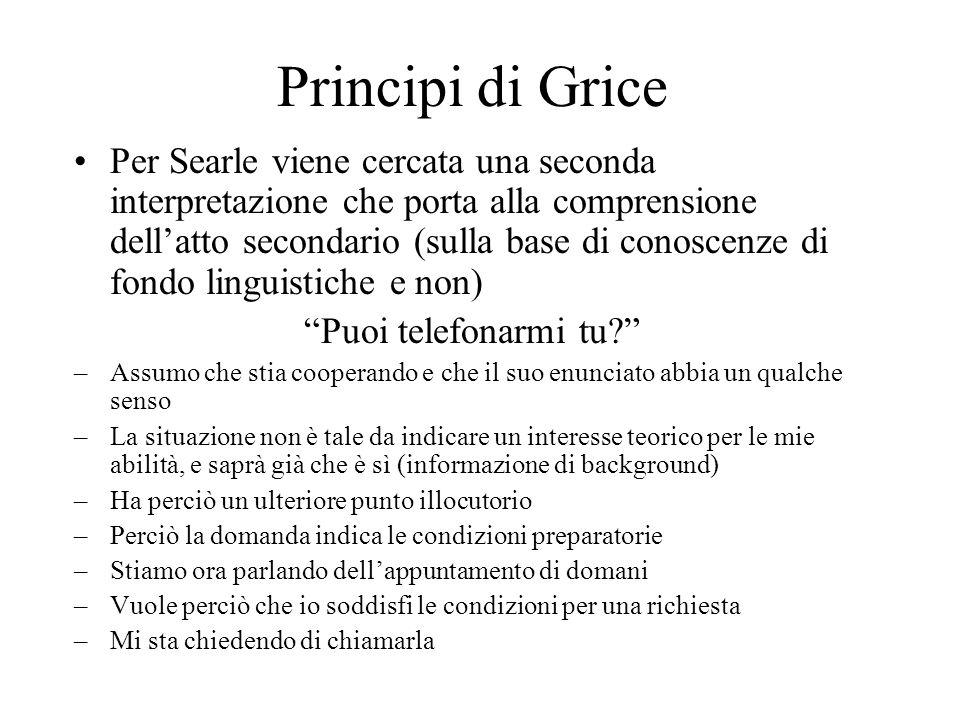 Principi di Grice Per Searle viene cercata una seconda interpretazione che porta alla comprensione dellatto secondario (sulla base di conoscenze di fo