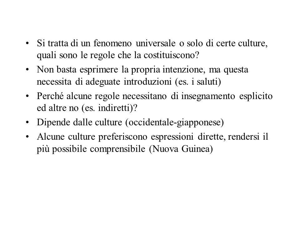 Si tratta di un fenomeno universale o solo di certe culture, quali sono le regole che la costituiscono? Non basta esprimere la propria intenzione, ma