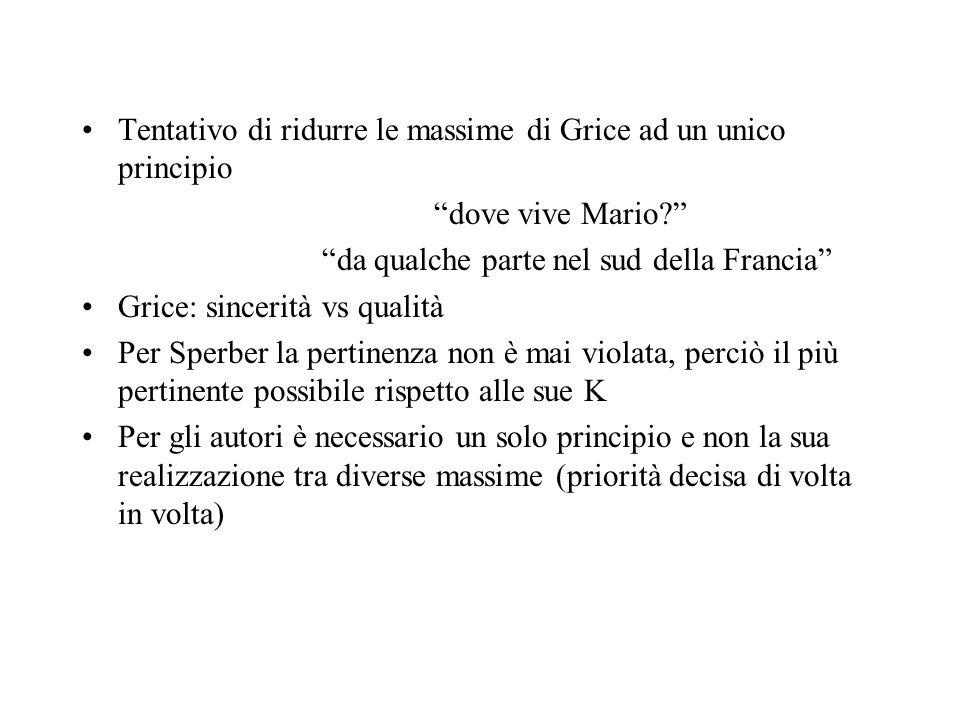 Tentativo di ridurre le massime di Grice ad un unico principio dove vive Mario? da qualche parte nel sud della Francia Grice: sincerità vs qualità Per