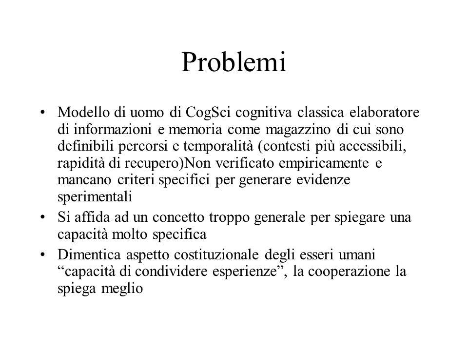 Problemi Modello di uomo di CogSci cognitiva classica elaboratore di informazioni e memoria come magazzino di cui sono definibili percorsi e temporali