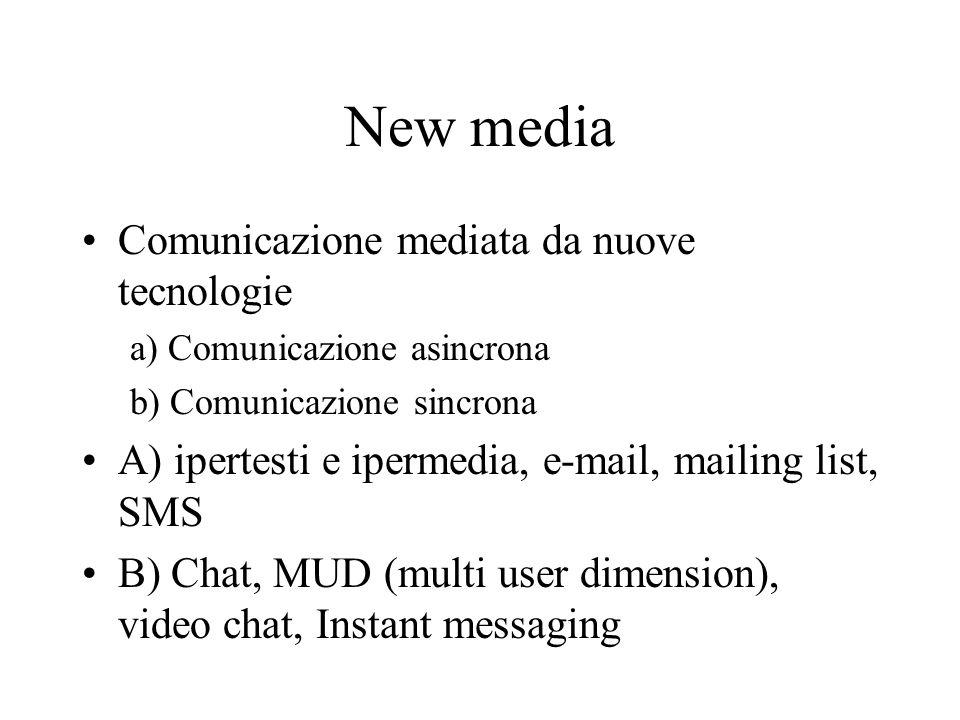 New media Comunicazione mediata da nuove tecnologie a) Comunicazione asincrona b) Comunicazione sincrona A) ipertesti e ipermedia, e-mail, mailing lis