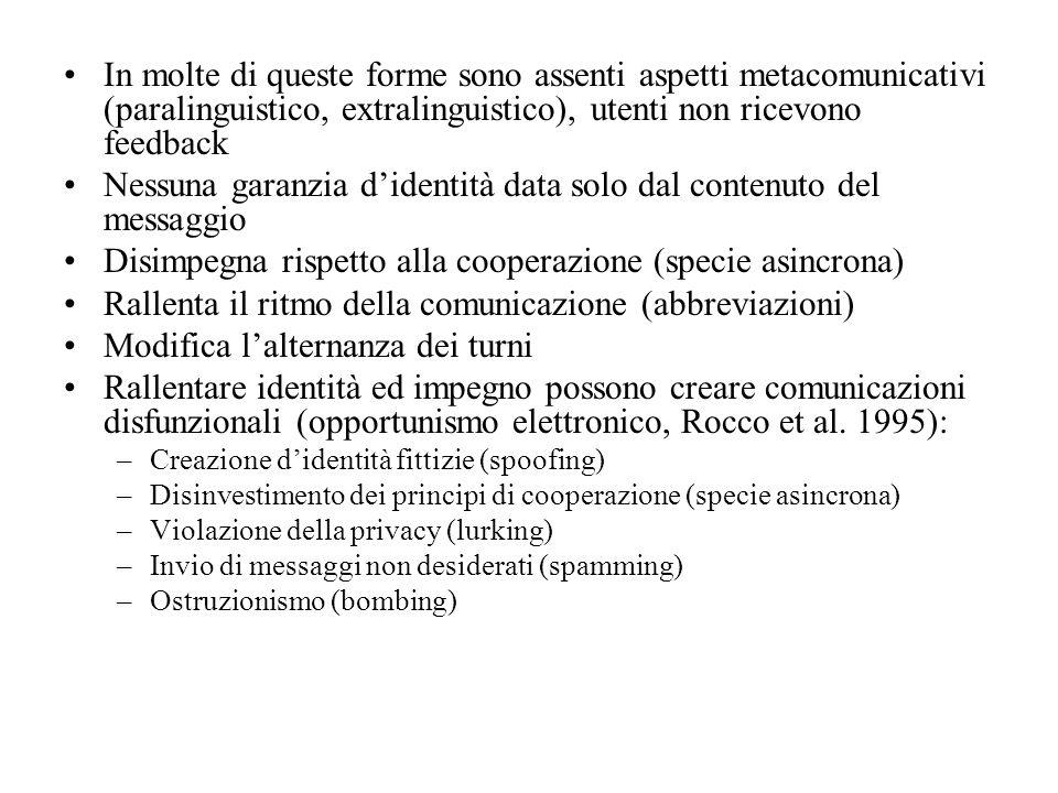 In molte di queste forme sono assenti aspetti metacomunicativi (paralinguistico, extralinguistico), utenti non ricevono feedback Nessuna garanzia dide