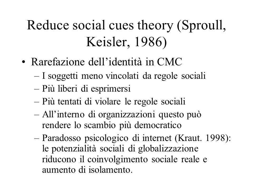 Reduce social cues theory (Sproull, Keisler, 1986) Rarefazione dellidentità in CMC –I soggetti meno vincolati da regole sociali –Più liberi di esprime