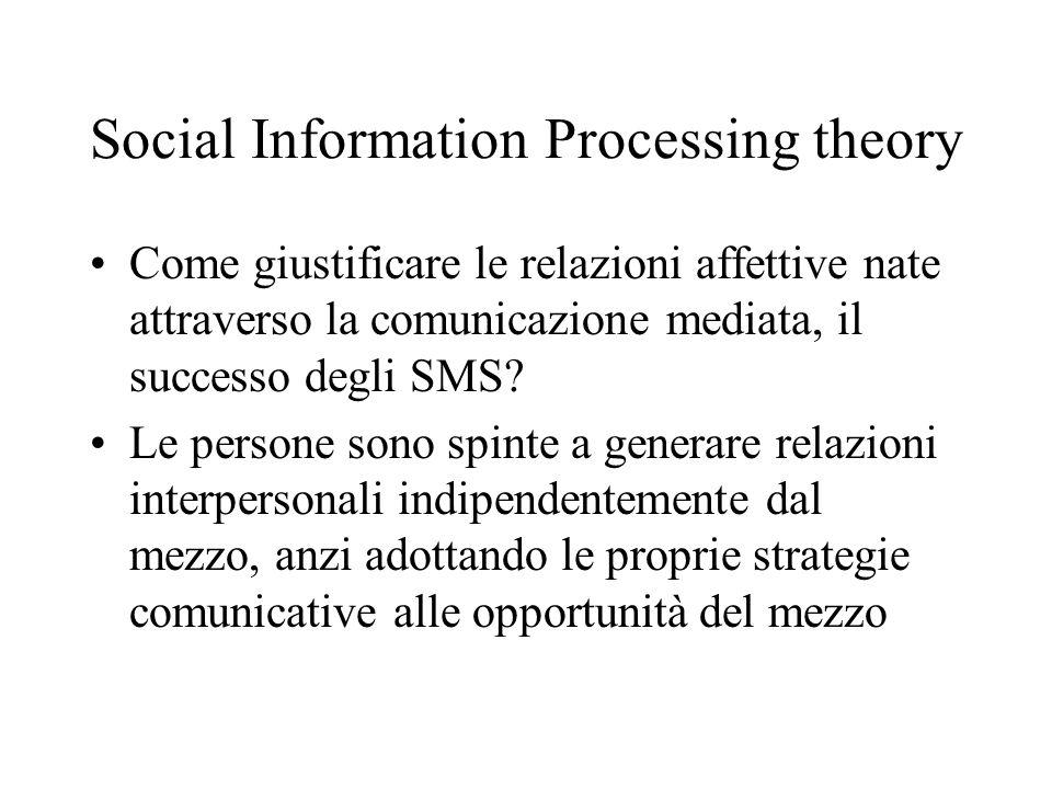 Social Information Processing theory Come giustificare le relazioni affettive nate attraverso la comunicazione mediata, il successo degli SMS? Le pers