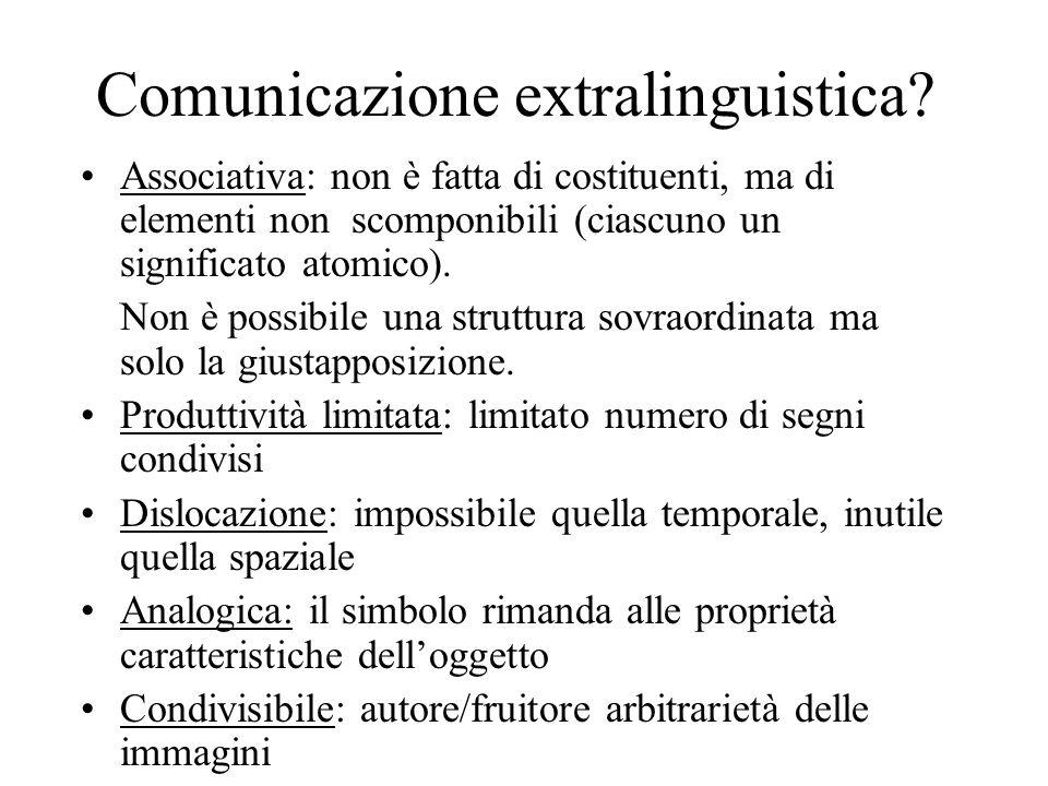 Comunicazione extralinguistica? Associativa: non è fatta di costituenti, ma di elementi non scomponibili (ciascuno un significato atomico). Non è poss