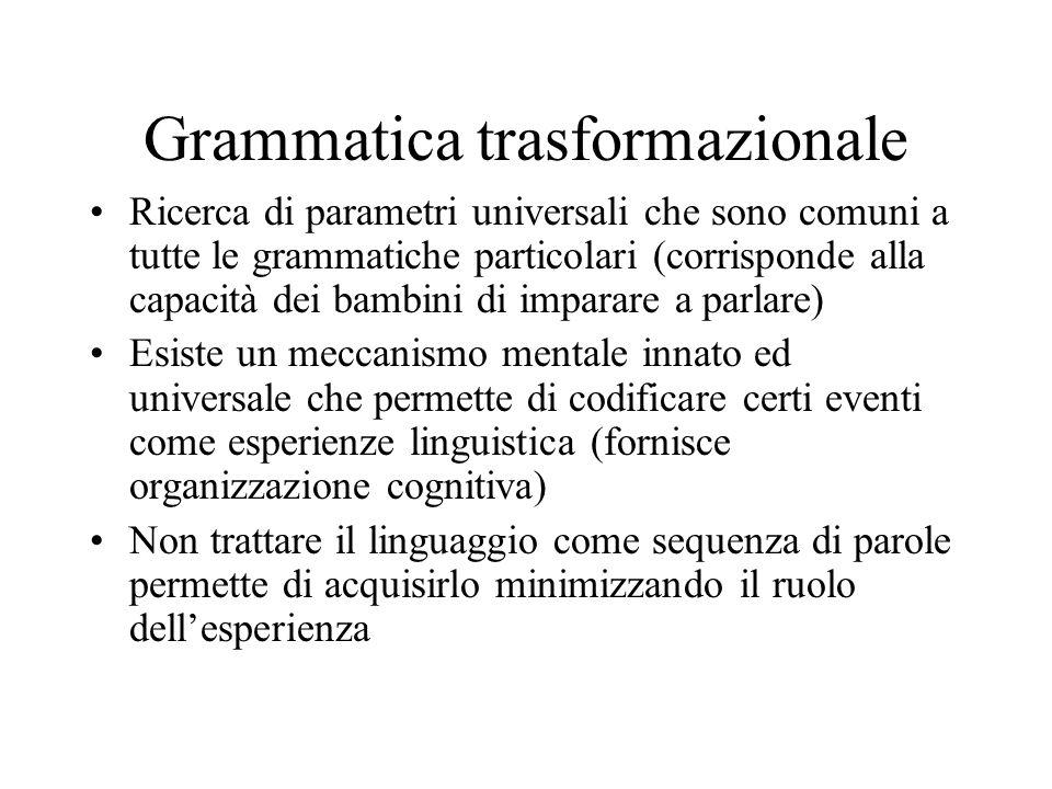 Grammatica trasformazionale Ricerca di parametri universali che sono comuni a tutte le grammatiche particolari (corrisponde alla capacità dei bambini