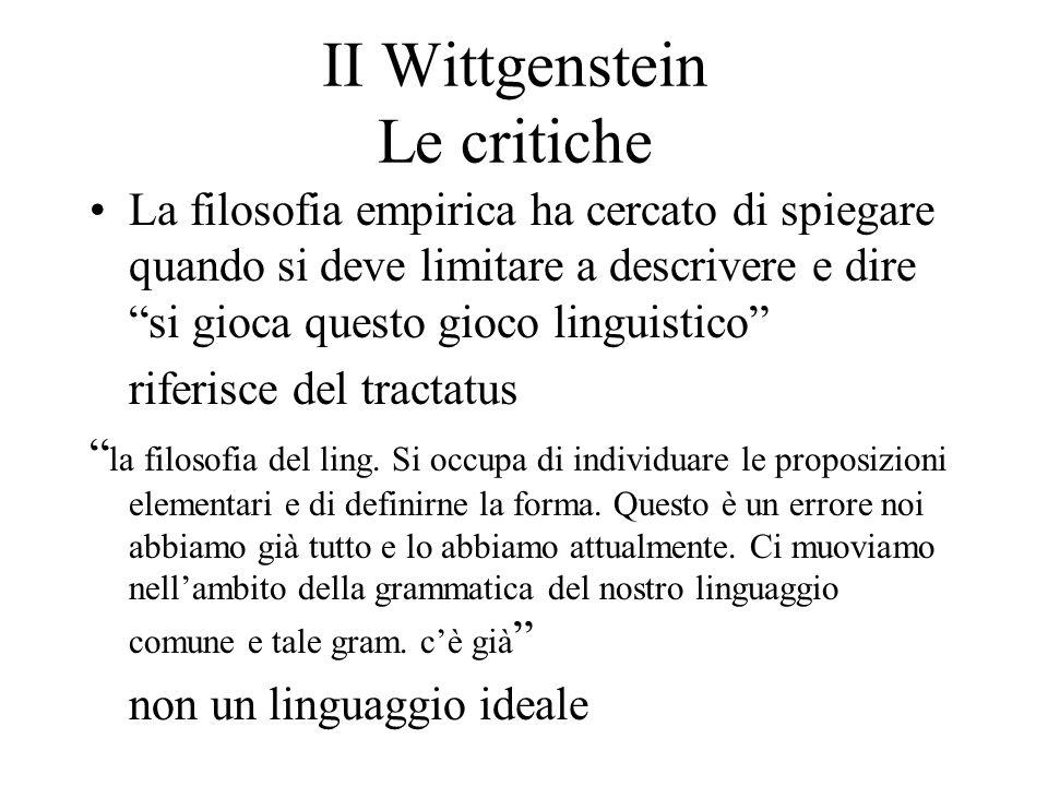 II Wittgenstein Le critiche La filosofia empirica ha cercato di spiegare quando si deve limitare a descrivere e dire si gioca questo gioco linguistico
