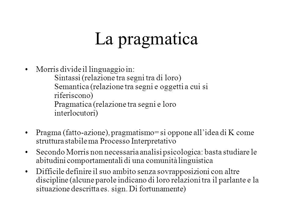 La pragmatica Morris divide il linguaggio in: Sintassi (relazione tra segni tra di loro) Semantica (relazione tra segni e oggetti a cui si riferiscono