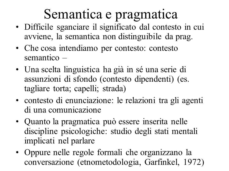 Semantica e pragmatica Difficile sganciare il significato dal contesto in cui avviene, la semantica non distinguibile da prag. Che cosa intendiamo per