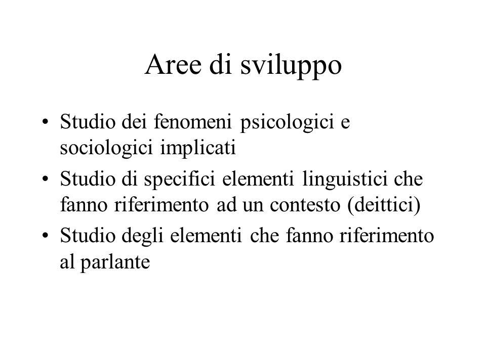 Aree di sviluppo Studio dei fenomeni psicologici e sociologici implicati Studio di specifici elementi linguistici che fanno riferimento ad un contesto