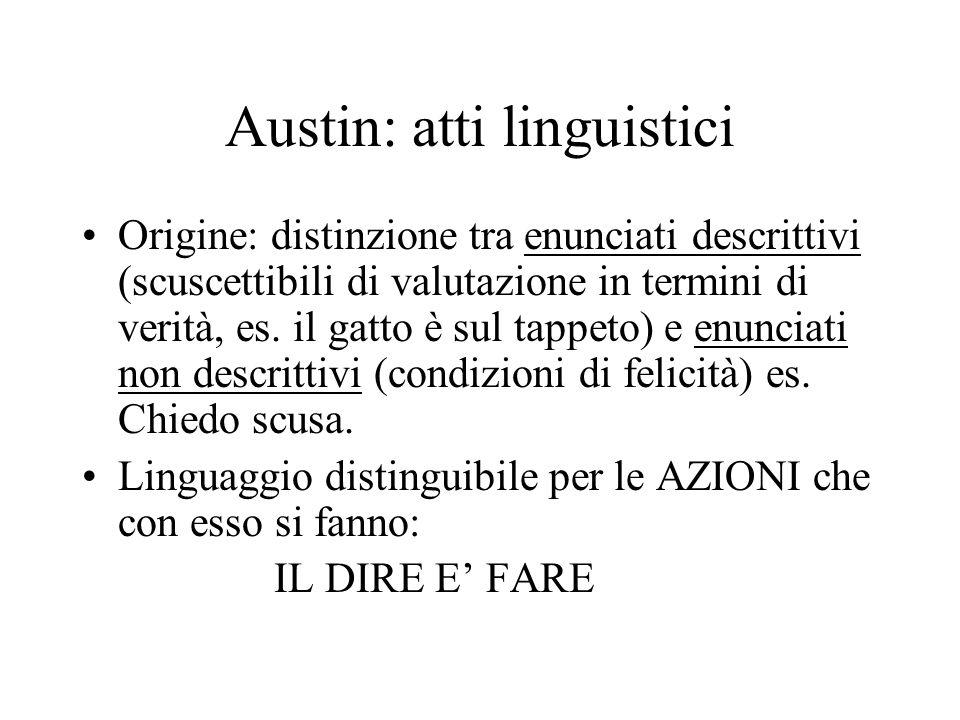 Austin: atti linguistici Origine: distinzione tra enunciati descrittivi (scuscettibili di valutazione in termini di verità, es. il gatto è sul tappeto