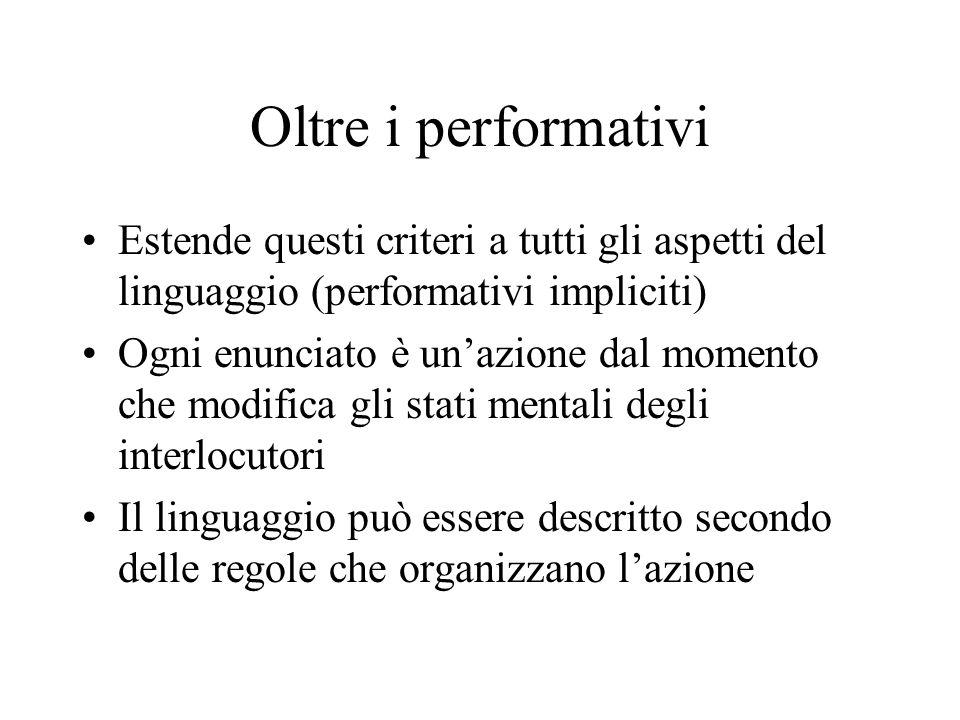 Oltre i performativi Estende questi criteri a tutti gli aspetti del linguaggio (performativi impliciti) Ogni enunciato è unazione dal momento che modi