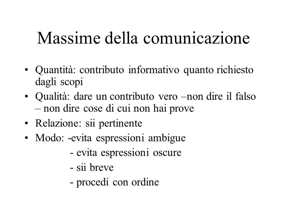 Massime della comunicazione Quantità: contributo informativo quanto richiesto dagli scopi Qualità: dare un contributo vero –non dire il falso – non di