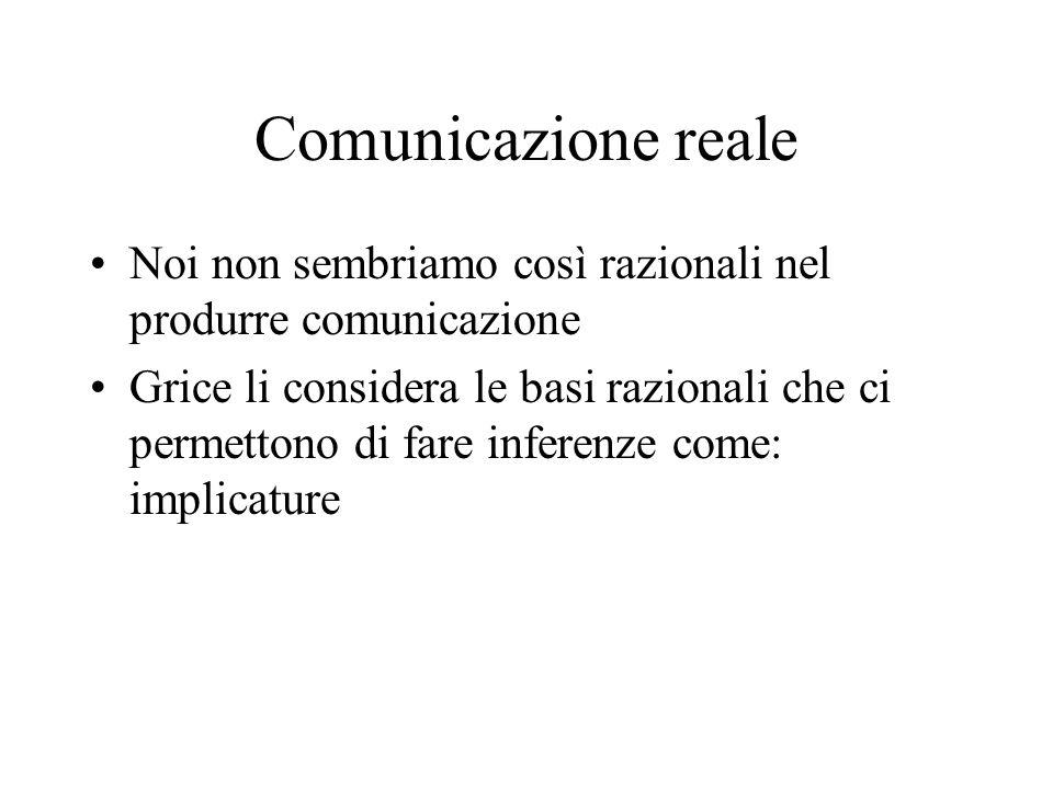 Comunicazione reale Noi non sembriamo così razionali nel produrre comunicazione Grice li considera le basi razionali che ci permettono di fare inferen