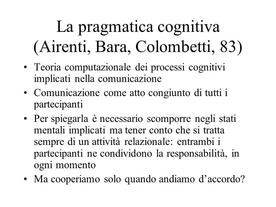La pragmatica cognitiva (Airenti, Bara, Colombetti, 83) Teoria computazionale dei processi cognitivi implicati nella comunicazione Comunicazione come