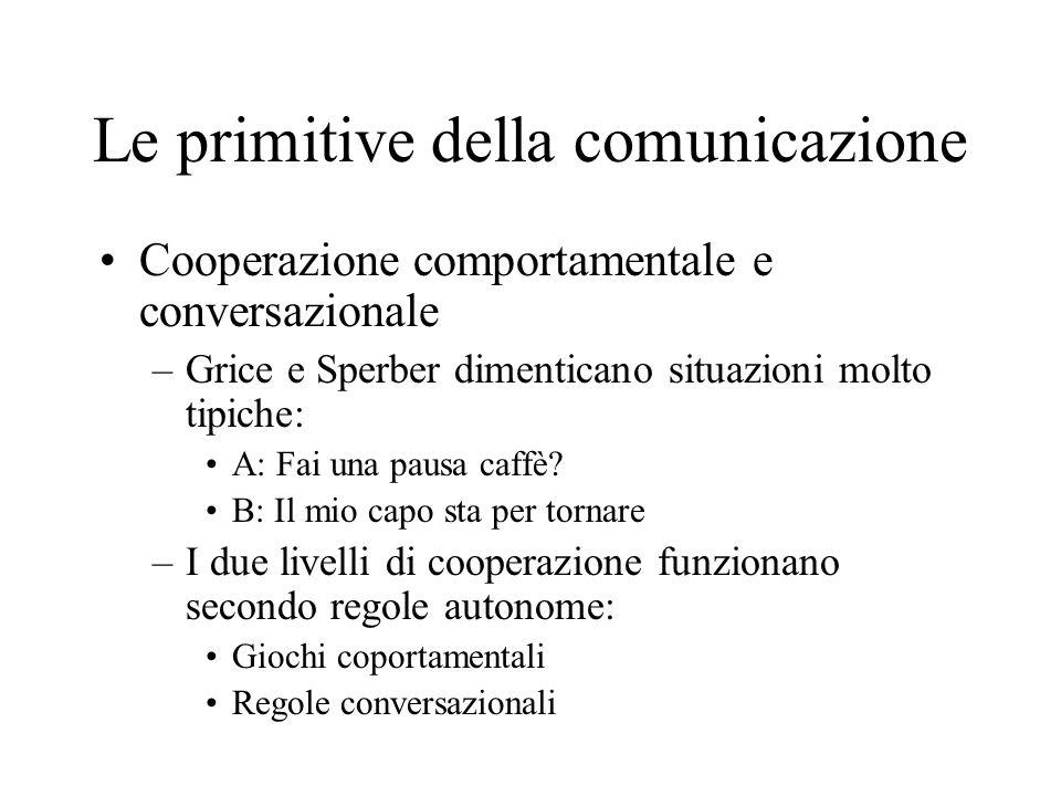 Le primitive della comunicazione Cooperazione comportamentale e conversazionale –Grice e Sperber dimenticano situazioni molto tipiche: A: Fai una paus