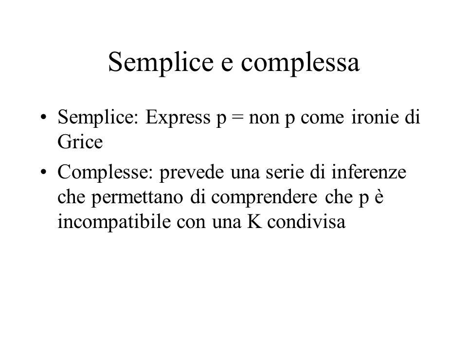 Semplice e complessa Semplice: Express p = non p come ironie di Grice Complesse: prevede una serie di inferenze che permettano di comprendere che p è