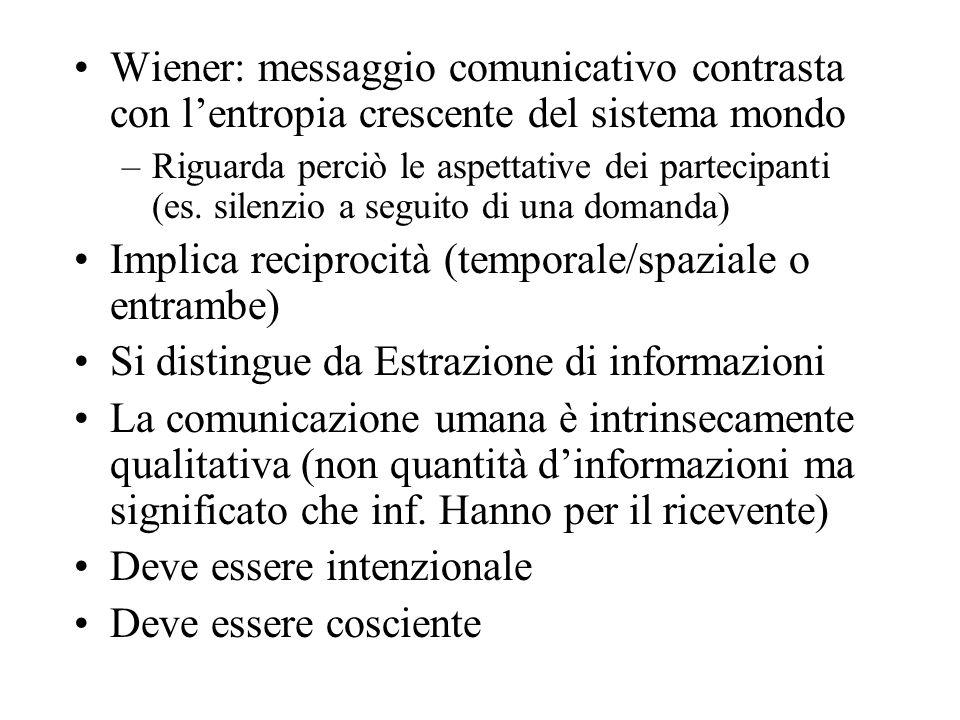 Wiener: messaggio comunicativo contrasta con lentropia crescente del sistema mondo –Riguarda perciò le aspettative dei partecipanti (es. silenzio a se