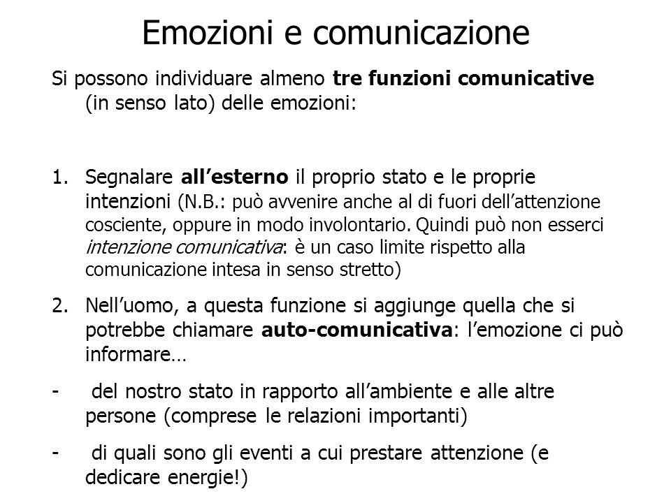 Emozioni e comunicazione Si possono individuare almeno tre funzioni comunicative (in senso lato) delle emozioni: 1.Segnalare allesterno il proprio sta