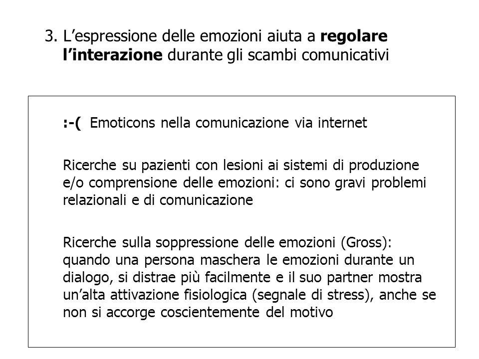 3. Lespressione delle emozioni aiuta a regolare linterazione durante gli scambi comunicativi :-( Emoticons nella comunicazione via internet Ricerche s