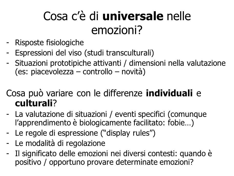 Cosa cè di universale nelle emozioni? -Risposte fisiologiche -Espressioni del viso (studi transculturali) -Situazioni prototipiche attivanti / dimensi