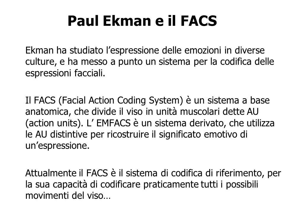 Paul Ekman e il FACS Ekman ha studiato lespressione delle emozioni in diverse culture, e ha messo a punto un sistema per la codifica delle espressioni