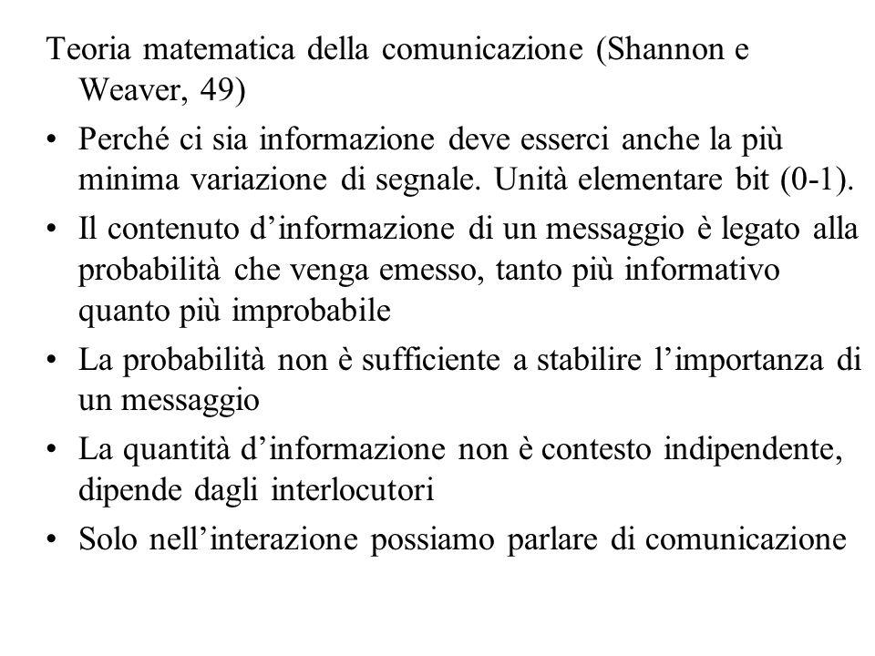 Teoria matematica della comunicazione (Shannon e Weaver, 49) Perché ci sia informazione deve esserci anche la più minima variazione di segnale. Unità