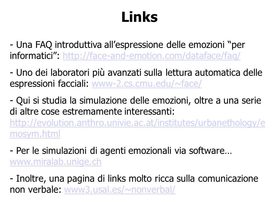 Links - Una FAQ introduttiva allespressione delle emozioni per informatici: http://face-and-emotion.com/dataface/faq/http://face-and-emotion.com/dataf