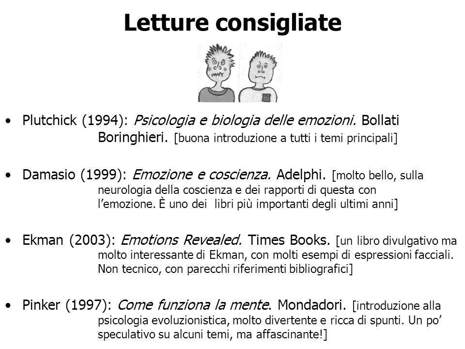 Plutchick (1994): Psicologia e biologia delle emozioni. Bollati Boringhieri. [buona introduzione a tutti i temi principali] Damasio (1999): Emozione e